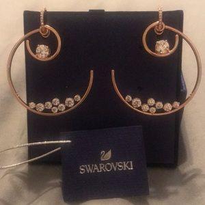 NWT SWAROVSKI Double Hoop Earrings Rose gold